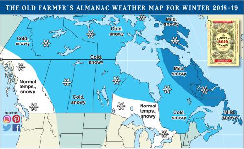 The old farmer's almanac weather map for winter 2018-19