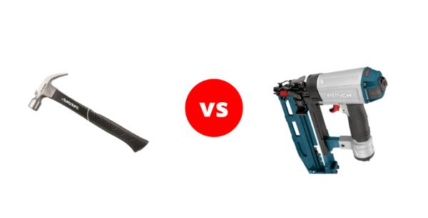 A comparison between a hammer and a nail gun