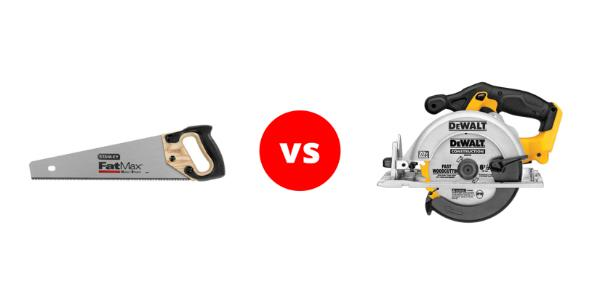 A comparison between a hand saw and a circular saw