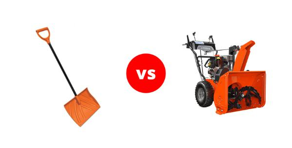Comparison between a snow shovel and a snow blower